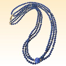 A Beautiful Vintage Lapis Lazuli and Cobalt Glass Necklace With Gold Filled Accents