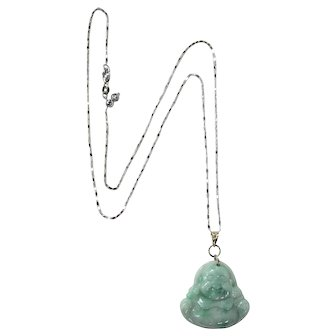 Beautiful Jadeite Buddha Pendant and 14K White Gold Adjustable Necklace