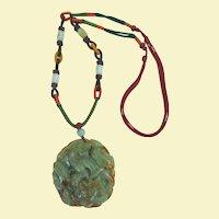 A Magnificent Jade Dragon Pendant Necklace