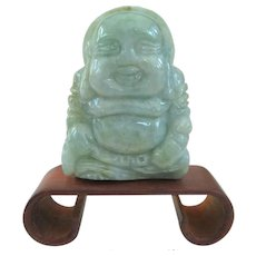 An Excellent Jade Buddha on Bend Rosewood Stand