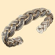 A Beautiful Vintage 12K Gold Filled and Sterling Woven Bracelet