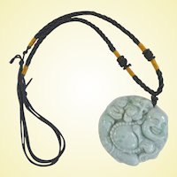 A Beautiful Well Carved Celedon Jade Buddha Pendant Necklace