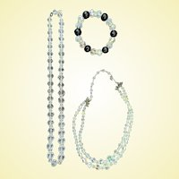 Two Beautiful Vintage Cut Crystal or Glass Necklaces and Bracelet