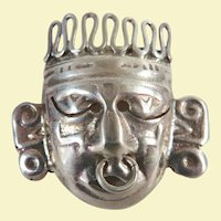 An Unusual Vintage Mexican Aztec Style Sterling Silver Brooch