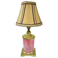 A Vintage Accent Lamp With Antique Cranberry Opalescent Glass