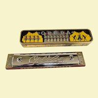 Superb Old Opera Trilling Harmonica In Original Tin Litho Box!