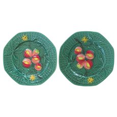 An Old Pair Of German Zell Majolica Plates