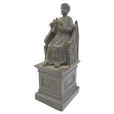 Unusual Chair of Saint Peter Bronze Grand Tour Memento