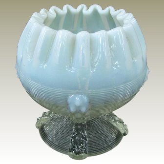 Northwood Button Panel Opalescent Rose Bowl 1899-1902