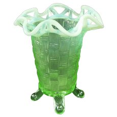 Imperial Uranium Green Opalescent Basketweave Open Edge Vase
