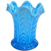Rare Fenton Blue Opalescent Boggy Bayou Short Swung Vase Circa 1908