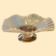 A Jefferson Block White Opalescent Ruffled Bowl C1905