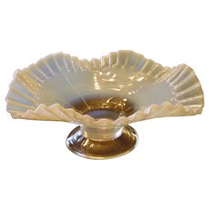 A Jefferson Block White Opalescent Ruffled Bowl C1905