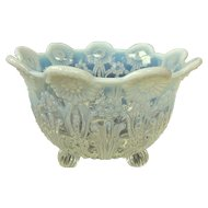 Northwood Pearl Flowers White Opalescent Glass Nut Bowl C1905