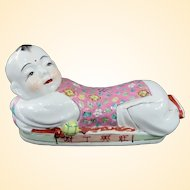 Adorable Vintage Miniature Chinese Porcelain Pillow Sleeping Child