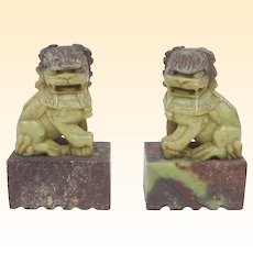 A Neat Little Pair of Well Carved Soapstone Chinese Foo Dogs