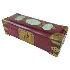 An Excellent Serpentine Stone Mounted Chinese Jewelry Box