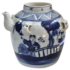 An Old Chinese Hanging Water Vessel in Underglaze Blue