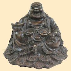 A Well Cast Vintage Bronze Hotei Prosperity Buddha