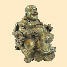 A Well Cast Vintage Gilded Brass Hotei Prosperity Buddha