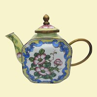 A Vintage Chinese Miniature Enamel Teapot