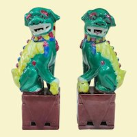 """A Neat Pair of Vintage Famille Verte Foo Dogs 8.25"""""""