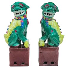 A Neat Pair of Vintage Famille Verte Foo Dogs 8.25""