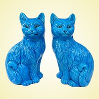 A Cute Vintage Pair of Chinese Peacock Blue Cats