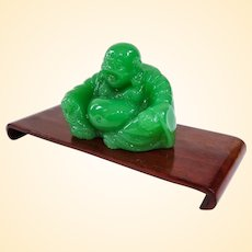 A Cute Little Vintage Green Glass Buddha on Rosewood Stand