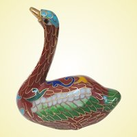 A Cute Little Vintage Chinese Cloisonné Swan Figure