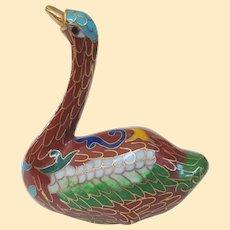 A Cute Little Vintage Chinese Cloisonné Swan Figure