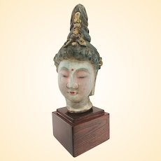 Vintage Gilded Carved Wood Kwan Yin Carving on Plinth