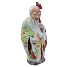Vintage Chinese Porcelain Figure Shou Lao God of Longevity 14""