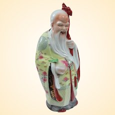 """Vintage Chinese Porcelain Figure Shou Lao God of Longevity 14"""""""