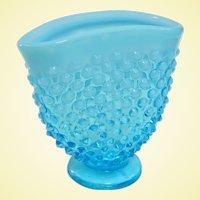 A Vintage Fenton Blue Opalescent Hobnail Fan Shaped Bud Vase