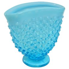 A Vintage Fenton Blue Opalescent Hobnail Fan Shaped Bud Vase