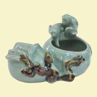 Unusual Vintage Chinese Celedon Brush Pot Monkeys and Peaches