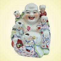 A Well Decorated Vintage Hotei Fertility Buddha With Five Children