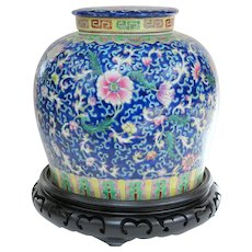 An Outstanding Large Vintage Famille Rose Chinese Ginger Jar on Stand