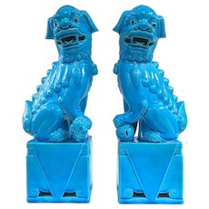 A Large Pair of Vintage Peacock Blue Foo Dogs Over 13""