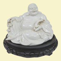 An Excellent Old Blanc de Chine Hotei Buddha on Stand