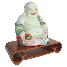 A Nice Vintage Porcelain Hotei Buddha on Stand