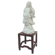 A Lovely Blanc De Chine Standing Hotei Buddha on Stand
