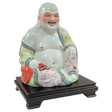 A Large Vintage Porcelain Hotei Buddha on Stand