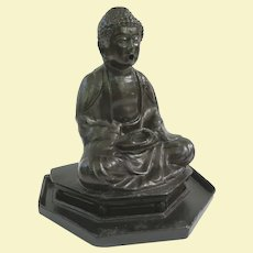 Japanese Cast Metal Buddha Incense Burner, Circa 1930 to 1950, Smoke from Ears and Mouth!