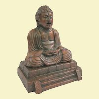 Japanese Cast Metal Buddha Incense Burner, Circa 1930 to 1950, Smoke from Mouth and Ears!