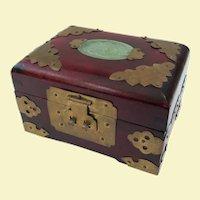 A Nice Little Chinese Serpentine Mounted Jewelry Box