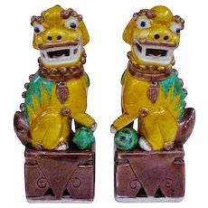 A Small Pair Of Antique Famille Jaune or Sancai Foo Dogs, Fu Dogs, Fu Lions, Foo Lions