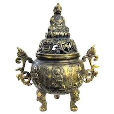 An Antique Chinese Censer With Buddha Top