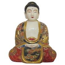 Antique Kinkozan Moriage Satsuma Japanese Meditating Buddha